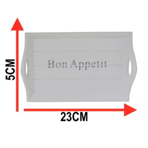 Small Retro White 'Bon Appetit' Drink Serving Tray
