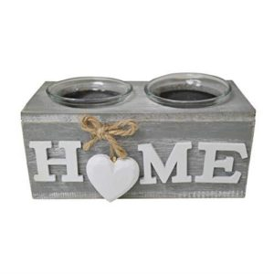 "New Wooden ""HOME"" Double Tealight Holder"