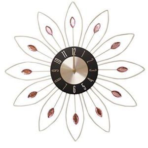 Large Diamanté Office Work Home Wall White Flower Pink Stone Clock (HS044) - Diameter 49cm