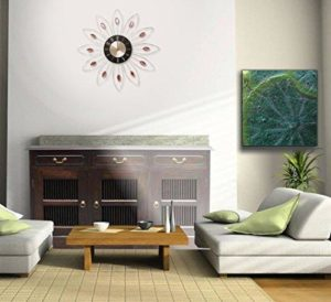 Large Diamanté Office Work Home Wall White Flower Pink Stone Clock (HS044) - Diameter 49cm