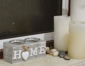"""New Wooden """"HOME"""" Double Tealight Holder"""