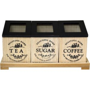 Wooden Tea/Coffee/Sugar 3 Compartment Storage Set