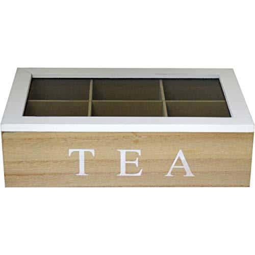 Vintage White/Brown Wooden 6 Compartment Storage Tea Box
