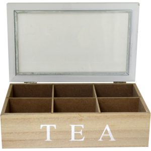 Vintage White/Brown Wooden 6 Compartment Storage Tea Box