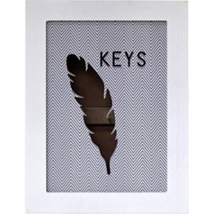 Maison Des Cadeaux New 6 Key Wooden Grey Feather Design Key Cabinet Box