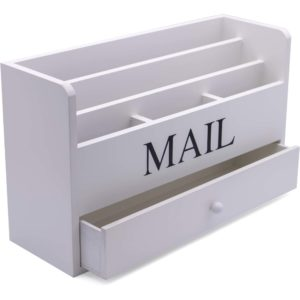 Angled Picture of a White Wooden Letter Mail Rack Holder With 6 Compartments And A Drawer