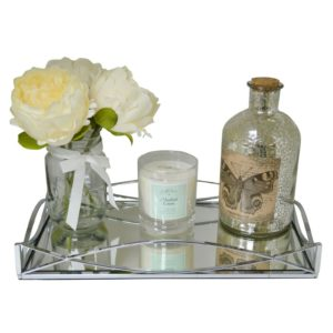 New Decorative Gold and Silver Metal Serving/Dressing Table Trays With Mirror Glass Bases