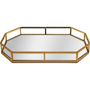 Gold Octagonal Decorative Tray With Mirrored Glass Base