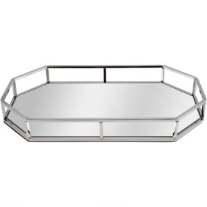 Silver Octagonal Decorative Tray With Mirrored Glass Base