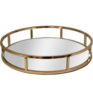 Gold Round Metal Decorative Tray With Mirrored Glass Base
