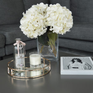 Gold Round Metal Decorative Tray With Mirrored Glass Base Lifestyle Picture