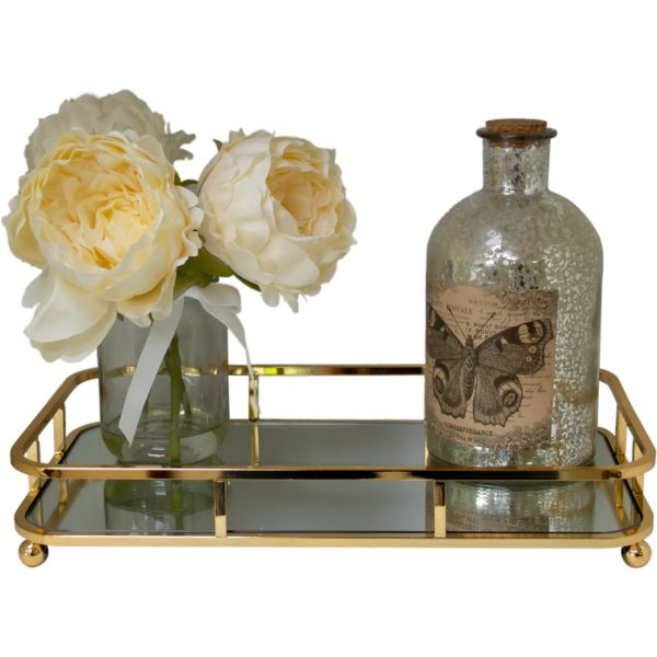 Contemp Gold Rectangular Serving/Dressing Candle Table Tray With Mirror Glass