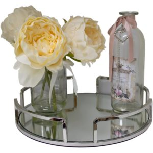 Silver 4 Part Round Serving/Dressing Candle Table Tray With Mirror Glass