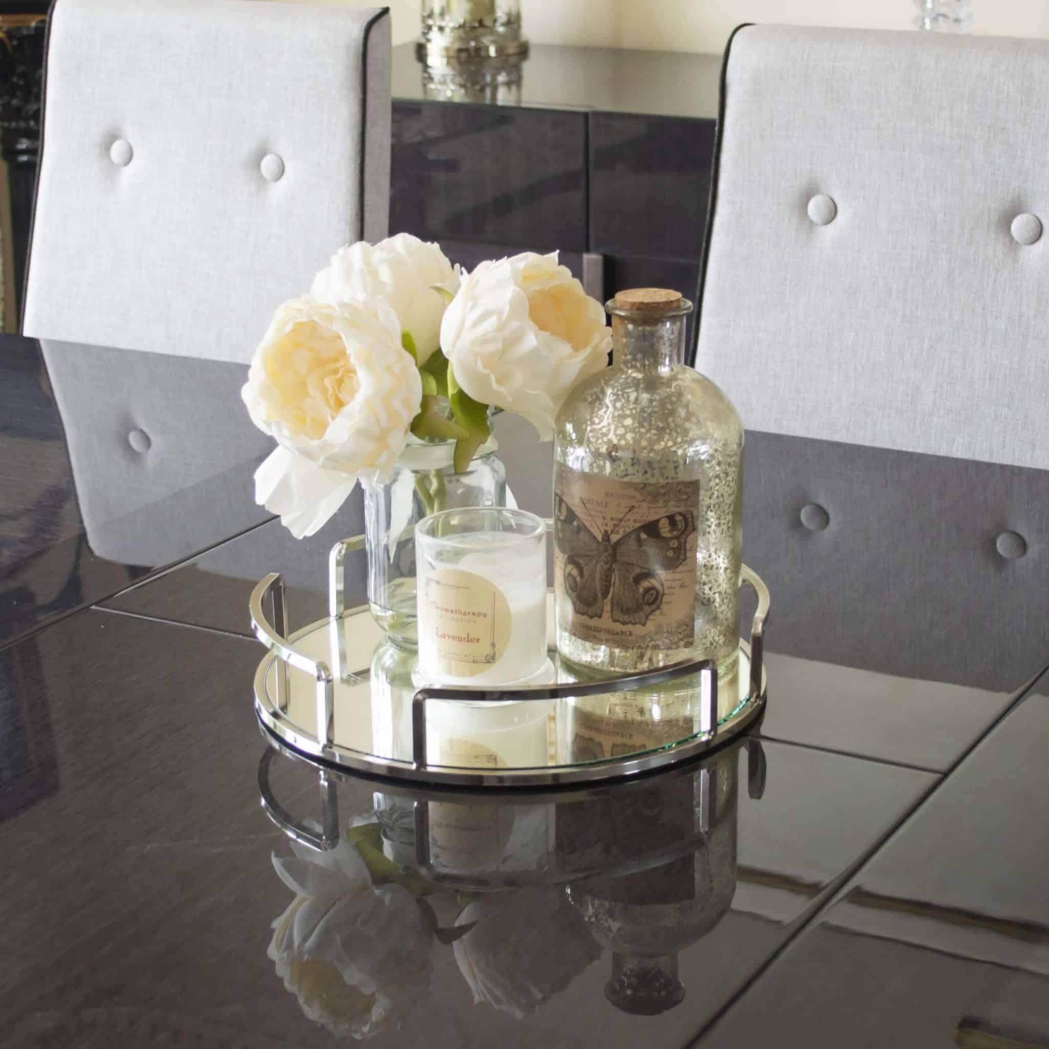 silver 4 part round decorative tray maison des cadeaux