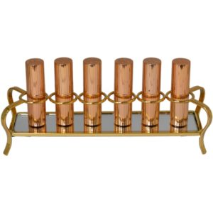 Gold 6 Part Lipstick Cosmetic Display Organizer Holder