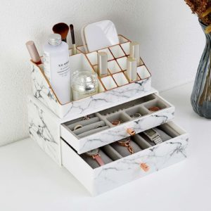 White Makeup Organiser with 2 Sliding Drawers On A Table
