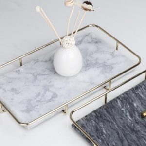 White Marble Cosmetic/Candle/Drinks Rectangular Tray