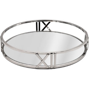 Roman Numerals Silver Metal Round Decorative Tray
