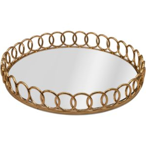 Gold Metal Chain Link Round Decorative Tray