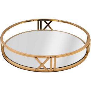 Numeral Roman Gold Metal Round Serving/Dressing Table Tray With Mirror Glass