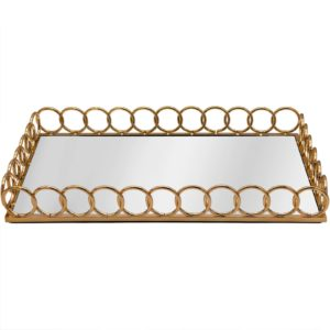 Rectangle Chain Link Gold Metal Serving/Dressing/Vanity Table Tray