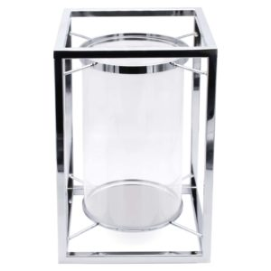 Silver Cube Hurricane Lamp Candle Holder