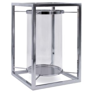 Silver Cube Hurricane Lamp Candle Holder Angled View