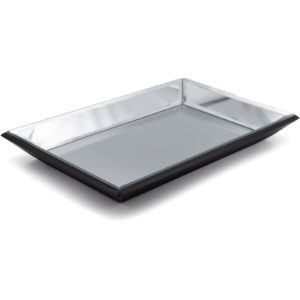 Rectangle Bevelled Mirrored Decorative Tray Angled View
