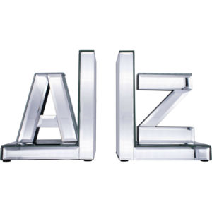 A-Z Mirrored Glass Bookends