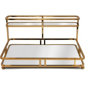Gold Metal 2 Tiered Mirrored Glass Base Cosmetic Organiser