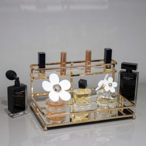 Gold Metal 2 Tiered Mirrored Glass Base Cosmetic Organiser Lifestyle View 2