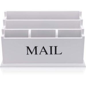 White 5 Compartment Letter Rack / Envelope Storage / Mail Holder
